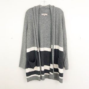 LOFT Striped Open Knit Cardigan
